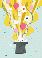 Rabbit,balloons and cards coming from top hat