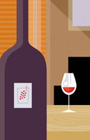 Close up of bottle of red wine and wine glass 20039002128| 写真素材・ストックフォト・画像・イラスト素材|アマナイメージズ