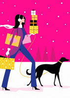 Woman walking dog and carrying Christmas gifts 20039002257| 写真素材・ストックフォト・画像・イラスト素材|アマナイメージズ