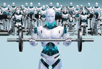 White android holding barbell with androids working out in b 20039003514| 写真素材・ストックフォト・画像・イラスト素材|アマナイメージズ
