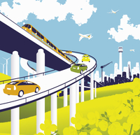 Elevated road and rail with train, cars, and airplanes  20039003532| 写真素材・ストックフォト・画像・イラスト素材|アマナイメージズ