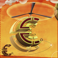 Ascending euro sign with helicopter propeller  20039003719| 写真素材・ストックフォト・画像・イラスト素材|アマナイメージズ