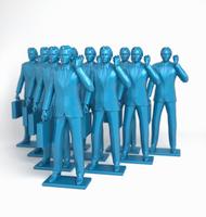 Group of blue businessmen figurines using mobile phones  20039004142  写真素材・ストックフォト・画像・イラスト素材 アマナイメージズ
