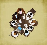 Overhead view of business people meeting around table 20039004362| 写真素材・ストックフォト・画像・イラスト素材|アマナイメージズ