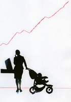 Businesswoman with baby in stroller talking on cell phone be 20039004489| 写真素材・ストックフォト・画像・イラスト素材|アマナイメージズ