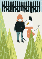 Girl and snowman standing together in snow  20039004525| 写真素材・ストックフォト・画像・イラスト素材|アマナイメージズ