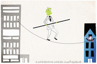 Man with green face walking on tightrope between office and  20039004600| 写真素材・ストックフォト・画像・イラスト素材|アマナイメージズ