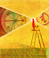 Woman on ladder standing on stock prices viewing compass and 20039005133| 写真素材・ストックフォト・画像・イラスト素材|アマナイメージズ