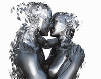 Android couple kissing and shattering  20039005159| 写真素材・ストックフォト・画像・イラスト素材|アマナイメージズ