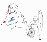 Daughter and care worker caring for elderly man and woman 20039006009| 写真素材・ストックフォト・画像・イラスト素材|アマナイメージズ