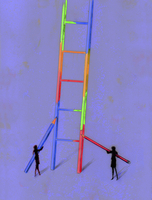 Two businesswomen working together coloring large ladder 20039006104| 写真素材・ストックフォト・画像・イラスト素材|アマナイメージズ