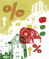 Collage of houses and rising percent rates 20039006709| 写真素材・ストックフォト・画像・イラスト素材|アマナイメージズ