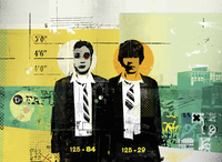 Two schoolboys standing in police line-up 20039006831| 写真素材・ストックフォト・画像・イラスト素材|アマナイメージズ