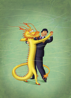 Cautious businessman and Chinese dragon dancing together 20039007162| 写真素材・ストックフォト・画像・イラスト素材|アマナイメージズ