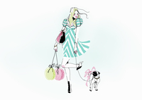 Glamorous young woman carrying shopping bags walking dog 20039007349| 写真素材・ストックフォト・画像・イラスト素材|アマナイメージズ