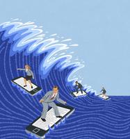 Business people surfing computer data wave on smart phones 20039007398  写真素材・ストックフォト・画像・イラスト素材 アマナイメージズ