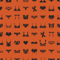 Pattern of different bras, panties and gloves on orange background 20039007589| 写真素材・ストックフォト・画像・イラスト素材|アマナイメージズ