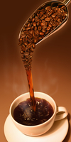 Coffee pouring into cup from scoop of fresh coffee beans 20039007613| 写真素材・ストックフォト・画像・イラスト素材|アマナイメージズ
