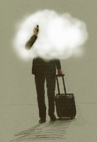 Businessman on the move using phone pulling suitcase with head in the clouds 20039007740| 写真素材・ストックフォト・画像・イラスト素材|アマナイメージズ