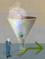 Businessman looking up at cogs and pie charts going into funnel with arrows coming out 20039007828| 写真素材・ストックフォト・画像・イラスト素材|アマナイメージズ