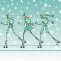 Fashionable young women ice skating in a row carrying christmas tree 20039008059| 写真素材・ストックフォト・画像・イラスト素材|アマナイメージズ