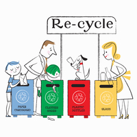 Family using paper, clothes, plastic and glass recycling bins 20039008133| 写真素材・ストックフォト・画像・イラスト素材|アマナイメージズ