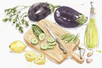 Fresh ingredients for baba ghanoush 20039008164| 写真素材・ストックフォト・画像・イラスト素材|アマナイメージズ