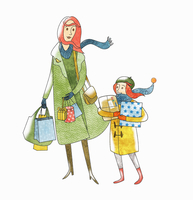 Mother and daughter with Christmas present shopping 20039008199| 写真素材・ストックフォト・画像・イラスト素材|アマナイメージズ
