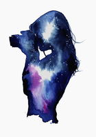 Starry night sky over silhouette of woman taking photograph 20039008229| 写真素材・ストックフォト・画像・イラスト素材|アマナイメージズ