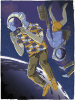 Tourists wearing space helmets floating in space above earth 20039008236| 写真素材・ストックフォト・画像・イラスト素材|アマナイメージズ