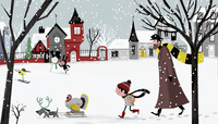 Father and son with pet dog pulling sledge carrying Christmas turkey through snowy village 20039008302| 写真素材・ストックフォト・画像・イラスト素材|アマナイメージズ