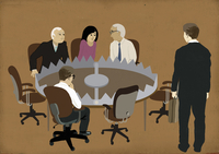 Business people sitting in meeting around bear trap conference table 20039008312| 写真素材・ストックフォト・画像・イラスト素材|アマナイメージズ