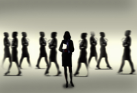Silhouette of calm confident businesswoman standing out from the crowd 20039008314| 写真素材・ストックフォト・画像・イラスト素材|アマナイメージズ
