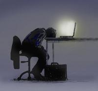 Exhausted businessman slumped over laptop computer 20039008317| 写真素材・ストックフォト・画像・イラスト素材|アマナイメージズ