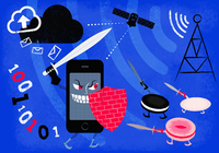 Smart phone using shield and sword to fight off cookies 20039008321| 写真素材・ストックフォト・画像・イラスト素材|アマナイメージズ