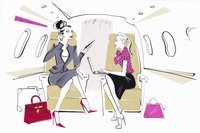 Busy powerful businesswoman on private jet with secretary 20039008368| 写真素材・ストックフォト・画像・イラスト素材|アマナイメージズ