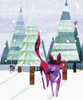 Foxes in snowy forest 20039008376| 写真素材・ストックフォト・画像・イラスト素材|アマナイメージズ