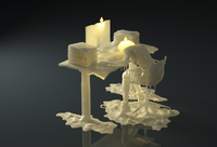 Melting wax candle of businesswoman working late slumped over desk with piles of paperwork 20039008385| 写真素材・ストックフォト・画像・イラスト素材|アマナイメージズ
