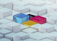 CMYK colored cubes standing out from uneven surface pattern 20039008447| 写真素材・ストックフォト・画像・イラスト素材|アマナイメージズ
