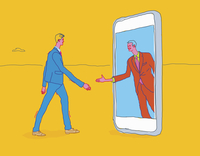 Two businessmen meeting and shaking hands through smart phone technology 20039008505| 写真素材・ストックフォト・画像・イラスト素材|アマナイメージズ