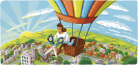 Woman cutting rope on hot air balloon and leaving 20039008537| 写真素材・ストックフォト・画像・イラスト素材|アマナイメージズ