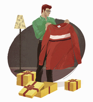 Man opening gifts and disappointed with too large sweater 20039008578| 写真素材・ストックフォト・画像・イラスト素材|アマナイメージズ