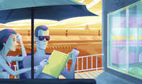 Couple sharing a book on sunny terrace of holiday apartment next to the sea 20039008581| 写真素材・ストックフォト・画像・イラスト素材|アマナイメージズ