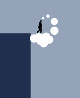 Businessman blue sky thinking stepping off cliff on to thought bubble cloud 20039008687| 写真素材・ストックフォト・画像・イラスト素材|アマナイメージズ