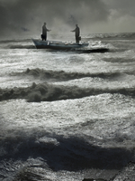 Two businessmen reaching to shake hands in boat on stormy sea 20039008799| 写真素材・ストックフォト・画像・イラスト素材|アマナイメージズ