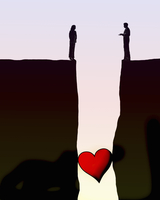 Heart stuck in gap between couple separated on opposite cliffs 20039008873| 写真素材・ストックフォト・画像・イラスト素材|アマナイメージズ