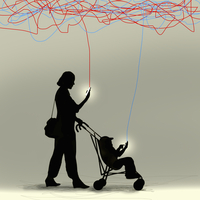 Mother and toddler in pushchair ignoring each other using smart phones 20039008889| 写真素材・ストックフォト・画像・イラスト素材|アマナイメージズ