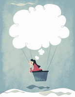 Woman daydreaming with thought bubble hot air balloon 20039008966| 写真素材・ストックフォト・画像・イラスト素材|アマナイメージズ