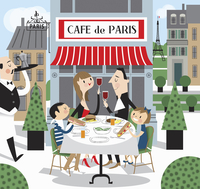 Family eating lunch together at a pavement cafe in Paris, France 20039008984| 写真素材・ストックフォト・画像・イラスト素材|アマナイメージズ