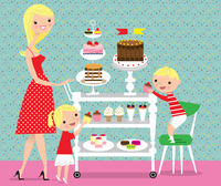 Children choosing cakes from sweet trolley pushed by mother 20039008986| 写真素材・ストックフォト・画像・イラスト素材|アマナイメージズ